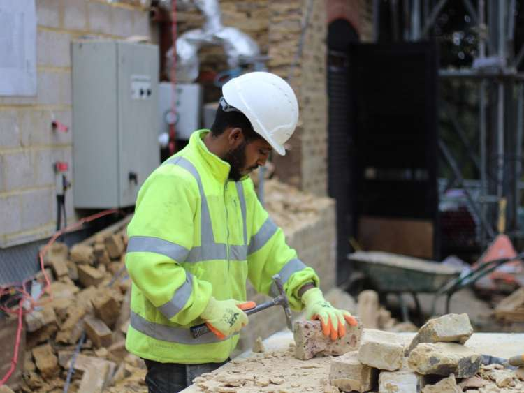 Worker at the Harefield Place site